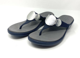 Crocs Women's Sanrah Sandals Wedge Navy Blue & Gray Hammered Gold Circle... - $15.88