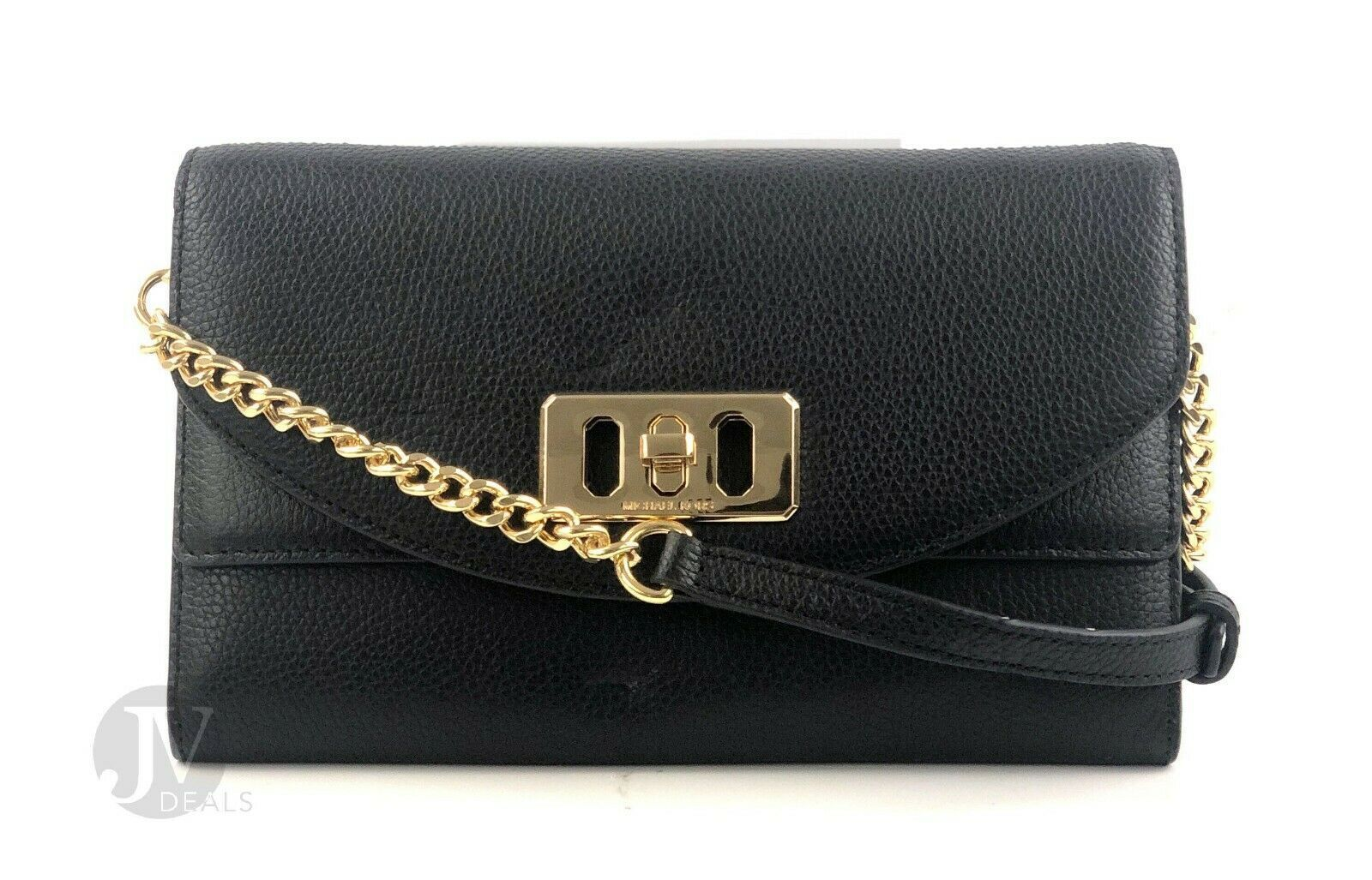 Primary image for Michael Kors Black Pebbled Leather Travel Wallet Clutch Crossbody Bag