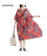 2018 Long Summer Dress Short Sleeves Loose Red Dresses for Women + Suspe... - $32.50