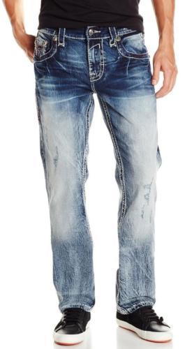 ROCK REVIVAL MEN'S STRAIGHT LEG DENIM JEANS WOVEN PANTS LEOTIS J4 size 42x34