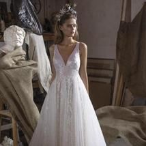 Sparkling Lace Embroidered Shining Star Princess A-line Tulle Luxury Wedding Gow image 2