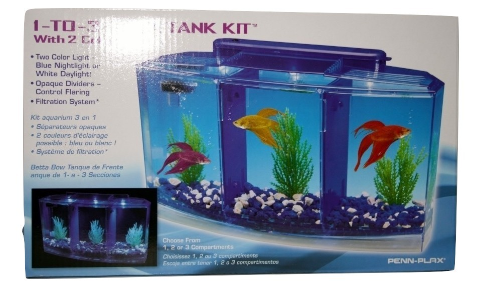 BBT4, Penn Plax, 1-to-3 Betta Tank Kit, with 2 Color Lights, New, Filtration