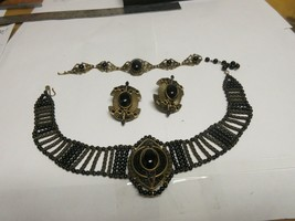 Costume Jewelry ,Vintage , Gold / Black , 3 Piece Lot , Neck , Ear , Bra... - $95.00