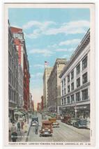 Fourth Street Cars Bank Louisville Kentucky 1920s postcard - $6.44