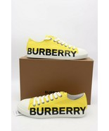 NIB Burberry Men's Yellow Larkhall Logo Cotton Gabardine Low-Top Sneaker... - $295.00
