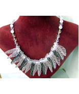 Vintage Lucite Clear and Gray/Charcoal Leaf Fringe Bib Necklace 1960s - $35.00