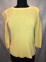 Talbots Damen S KLEIN Petite Gelb Pullover Top 3/4 Länge Ärmel - $24.58