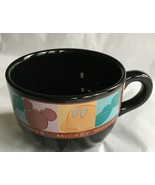 Disney Cappuccino Mug Cup Brown Soup Bowl Black Mickey Mouse Applause - $14.99