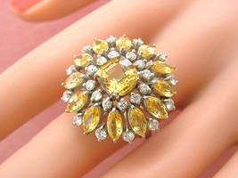 VINTAGE 7.44ctw CUSHION YELLOW SAPPHIRE DIAMOND BIG SUNFLOWER COCKTAIL R... - $6,137.01
