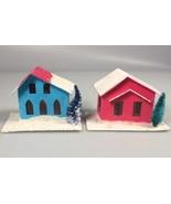 Vintage Christmas decoration putz house miniature cardboard houses - $29.69