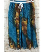 NWT Peacock Feather Pattern Skirt Chiffon Blue Colorful Omonsim Women's ... - $19.80