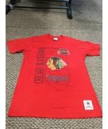 Vintage Chicago Blackhawks Hockey Red Nutmeg T-Shirt Large Excellent Con... - $24.74