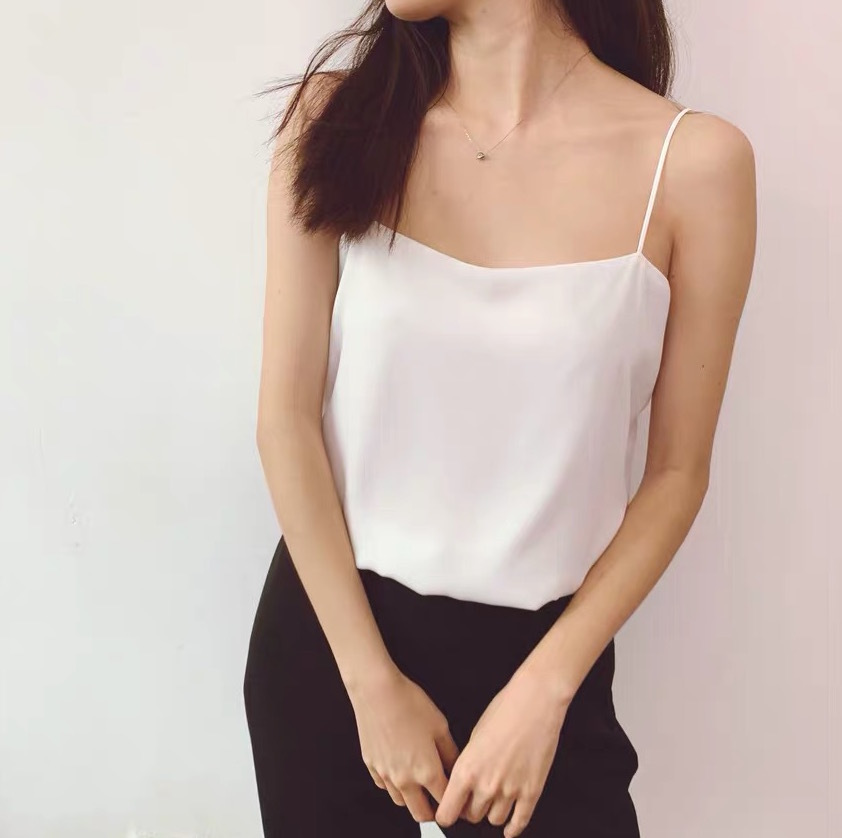 White Spaghetti Sleeveless Chiffon Tank Top Wedding Bridesmaid Chiffon Top Cami