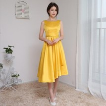 yellow color long irregular dress banquet women evening dress sisters gr... - $70.38