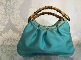 GUCCI Small Teal Raw Silk w/ Lizard Trim Double Bamboo Top Handle Hand B... - $335.51