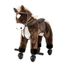 Kinbor Rocking Horse Ride-on with Sounds Plush Toy Walking Pony Wheels B... - $75.03