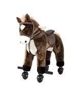 Kinbor Rocking Horse Ride-on with Sounds Plush Toy Walking Pony Wheels B... - $69.49