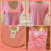Talbots Ladies Short Sleeve Top Size Petite LARGE Peachy Pink Very Good ... - $7.91