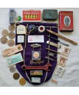 Vintage Men's JUNK DRAWER LOT Advertising Tools Tins Wooden Nickel Coins... - $55.00