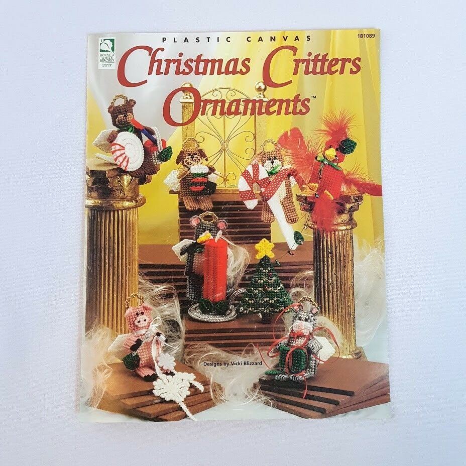 Primary image for Christmas Critters Ornaments HOWB Plastic Canvas Pattern Booklet Cat Dog Pig
