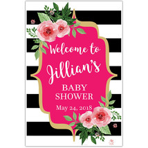 Black and White Striped Floral Welcome Sign for Baby Shower – Personaliz... - $18.32+