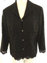 TALBOTS Women's Black Lace Overlay textured Blazer Size 12 Pearl Buttons - $28.49