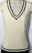 DD Collection Women's Cream Sleeveless Top with Fringe Beaded Trim - Siz... - $30.84