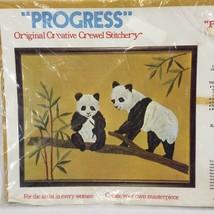 Vintage Progress Panda Bears Crewel Embroidery Kit #248 Large 14x18 Bamboo - $26.07