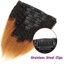 Feelgrace Kinky Straight Clip In Human Hair Extension Ombre 2 Tone 1B/Brown Colo image 7