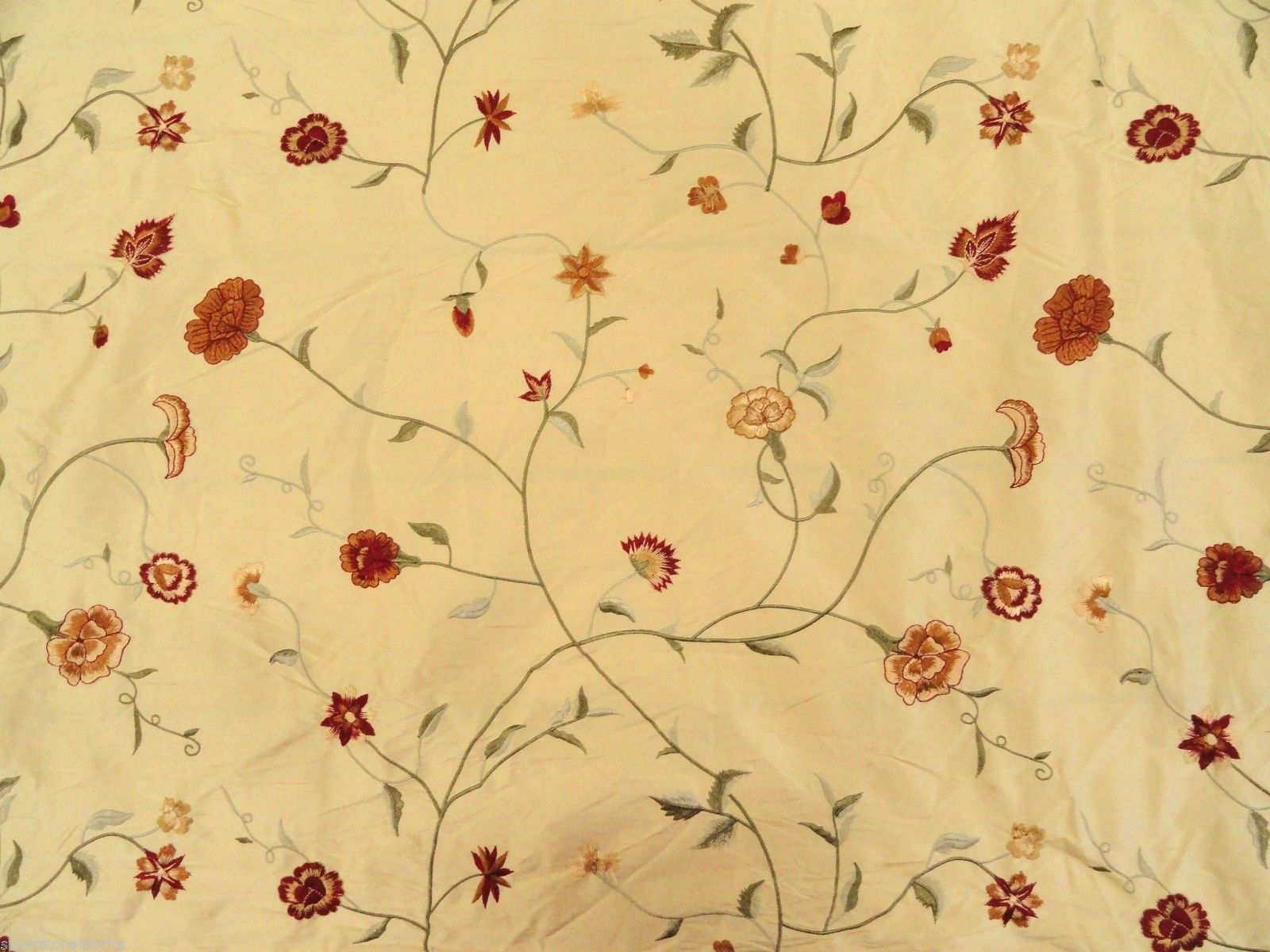 13.375 yds Onyx Age Upholstery Fabric Anna Embroidered Floral Silk Yellow PX6