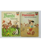 Lot of 1970s Walt Disney's Books Bambi Gets Lost and Pinocchio Vintage - $3.95