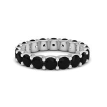 3.55 Carat Natural Black Diamond Full Eternity Wedding Band Ring 14K Whi... - $608.80