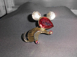 "VTG *RARE* Colored Rhinestone ""Dodds"" Signed Mouse Pin Brooch Pink Silver Toned  - $74.25"