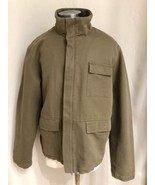 J Crew Full Zip Olive Green Jacket Size Large 100% Cotton NEW - $38.61