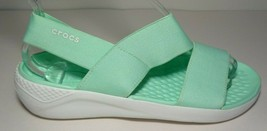 Crocs Size 7 LITERIDE STRETCH Neo Mint White Sandals New Womens Shoes - $64.35