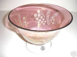 "Lenox Etchings Cranberry 9"" Crystal Footed Bowl Centerpiece New - $34.90"