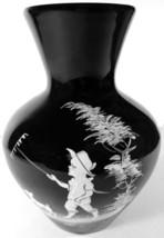"1970 Westmoreland Black Glass HP Mary Gregory Decoration 7""t Bulbous Vase - $59.99"