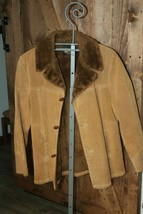 VTG Calif Silton Suede Leather Sherpa Shearling Frontier Jacket Ranch Co... - $93.10