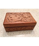 Vintage Hand Carved  Indian Wooden Box With An Intricate Leaves Pattern - $18.70