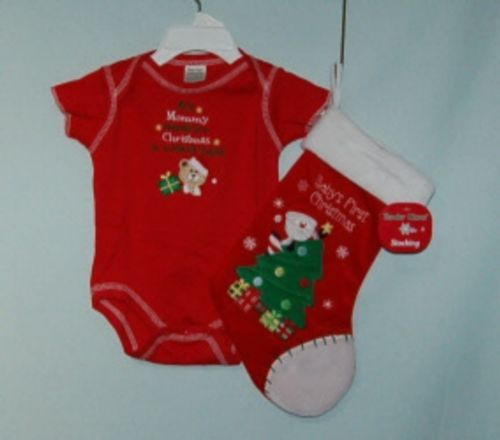 Tender Kisses All Mommy Wants for Christmas Red Bodysuit  Stocking 0-6 months