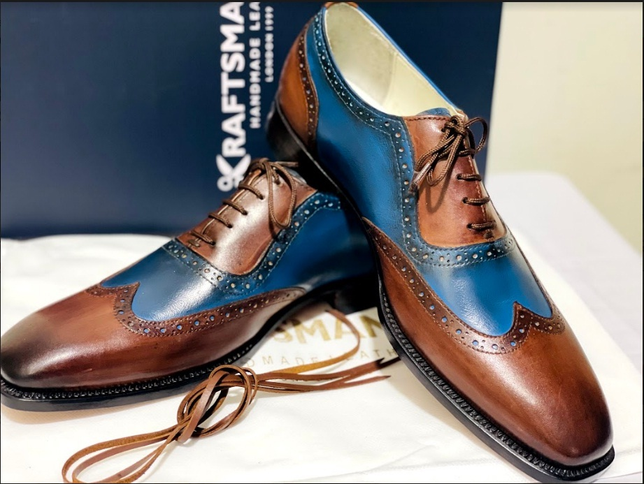 Handmade Men's Brown & Blue Wing Tip Brogues Lace Up Dress/Formal Oxford Shoes