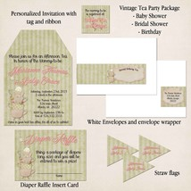 Vintage Tea Party Package: Invitation, Baby Shower, Personalized, Custom - $31.68