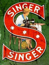 SINGER Sewing machines vintage advertising metal wall sign plaque - $8.59