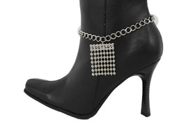 Women Western Boot Anklet Silver Chain Metal Balls Western Shoe Charm Fringes - $15.67