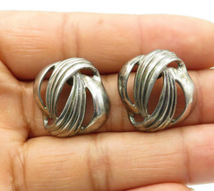 925 Sterling Silver - Vintage Fluted Open Designed Stud Earrings - E6552 - $28.08