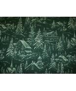 by the yard fabric cotton Christmas Green tone Village scene Hobby Lobby... - $10.89