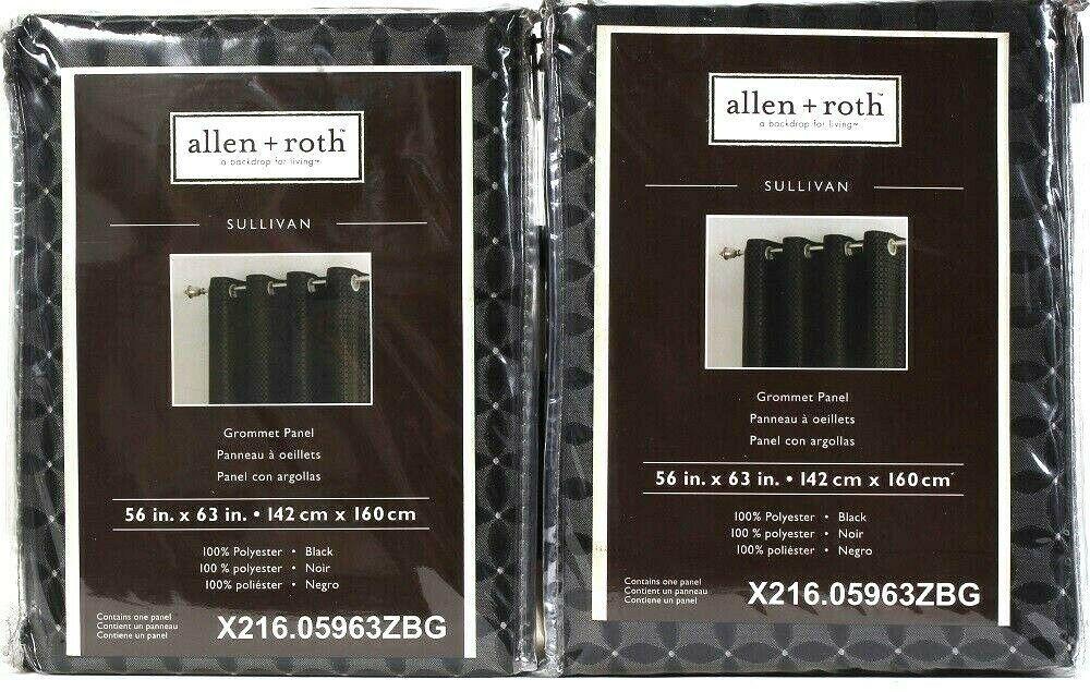 Allen Roth Ellinwood Back Tab Panel Drape Curtain Slate Blue  52x84 0005518