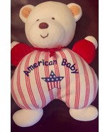 Soft Dreams AMERICAN BABY BEAR BABY RATTLE plush stuffed toy Red White Blue - $0.99