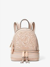 NWT MIchael Kors Rhea Mini Rose Studded Messenger Backpack / Soft Pink - $145.52