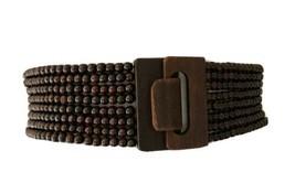 "Brown 3"" Wide Wood Beaded Boho Stretch Fashion Dress Shirt Belt Size Lar... - $14.99"